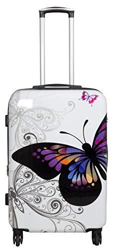 Polycarbonat Hartschalen Koffer Trolley Reisekoffer Reisetrolley Handgepäck Boardcase Motiv PM (Butterfly Weiß, Größe L)