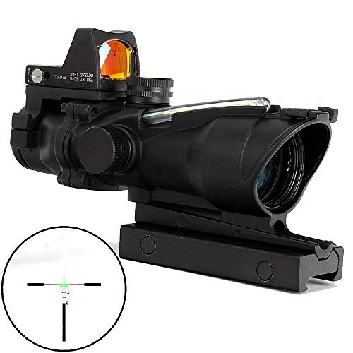 StyleA Zielfernrohr Luftgewehr 4X32 mm Airsoft Acog Visier mit Rotpunktvisier für 20mm / 22mm Weaver/Picatinny Schiene Montage für die Jagd (Schwarz mit grüner Faser) -