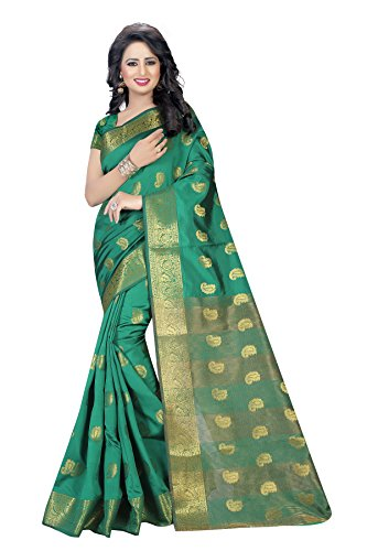 INDIAN BEAUTIFUL WOMEN'S ETHNIC WEAR GREEN COLOUR SAREE WITH BLOUSE PIECE
