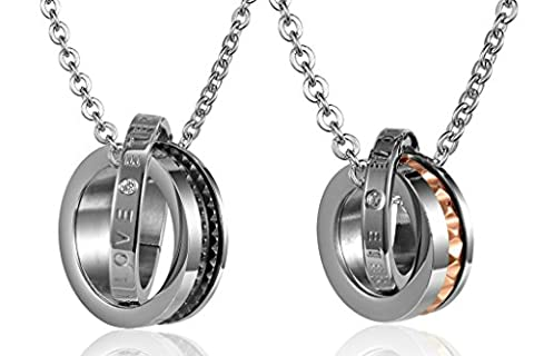 Couple's CZ Rings Interlocking Stainless Steel Pendant Necklace Black Rose