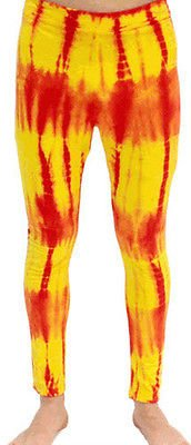 Rot and Gelb Tie-Dye Wrestling Legging Tights Pants (Large)