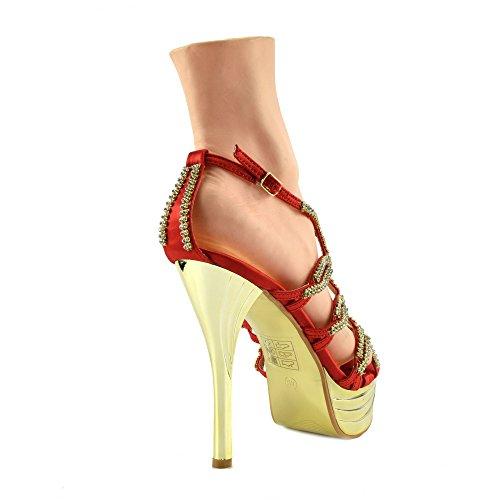 Kick Footwear - Donna Charmaine Chiaro Perspex Tacchi Alti Della Piattaforma Pole Dancing Scarpe Rosso AB191