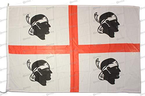Flagge Sardegna 150 x 100 cm aus winddichtem Nautico-Gewebe 115g/m2, Fahne 150x100 waschbar, Flagge 150x100 mit Karabinerhaken oder Kordel, Doppelnaht perimetral und Verstärkungsband