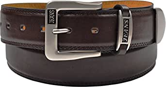 Mens Leather Belt - Casual Jeans Belt - With Crome Tip # 5055 - Brown, Large