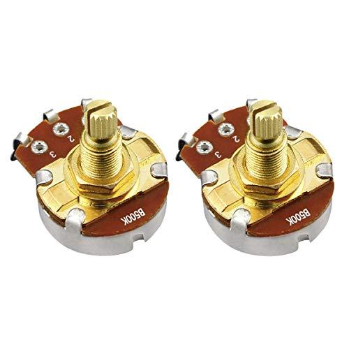 IKN 2pcs Goldene Farbe B500K Tone Töpfe Full Size Potentiometer L18mm Schaft für Gitarren Bass -