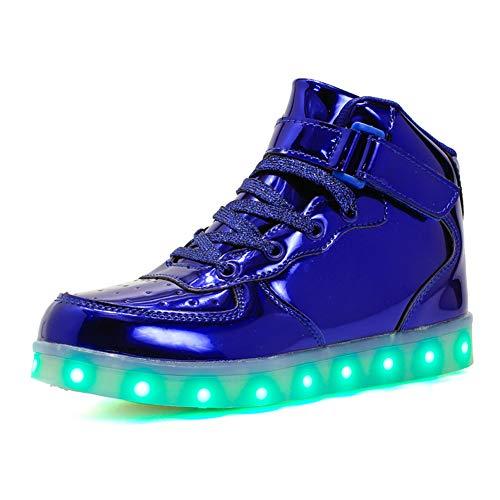 Axcer Unisex Kinder LED Schuhe 7 Farbe USB Aufladen LED Leuchtend Outdoor Sportschuhe High Top Ultraleicht Blinkend Laufschuhe Gymnastik Turnschuhe Für Jungen Mädchen Geburtstag Halloween Weihnachten