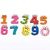 10 stücke Cartoon Nette 0-9 Zahlen Holz Kühlschrankmagnet Aufkleber Bildung Lernen Spielzeug für Kind Baby Weihnachtsgeschenk