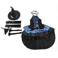 Candybush Traje de Bruja, Disfraz de Disfraces de Halloween Uniforme de tentación para los carnavales de la Fiesta de Halloween - 2 * Guantes 2 * Medias de Malla Sombrero de Bruja T-Back