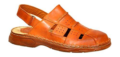 Herren Bequeme Sandalen Schuhe Mit Der Orthopadischen Einlage Aus Echtem Buffelleder Hausschuhe Modell 838 Kognak