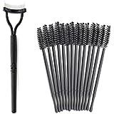 Kapmore Eyelash Comb, Foldable Makeup Mascara Applicator Eyelash Brush Comb With 50Pcs Eyelash Brush Black