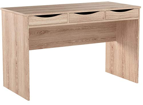 FineBuy Schreibtisch 120 cm | Design Büro-Tisch in Sonoma Eiche | Moderner Computer-Tisch mit 3 Schubladen und Stauraum | Platzsparender Jugend-Schreibtisch auch für Laptop geeignet