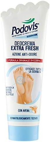 Podovis, Deocrema 48 ore, Azione Antiodore Extra-Forte, Regola la Sudorazione del Piede, Senza Parabeni e Sili