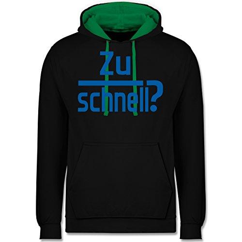 Laufsport - Zu schnell - Kontrast Hoodie Schwarz/Grün