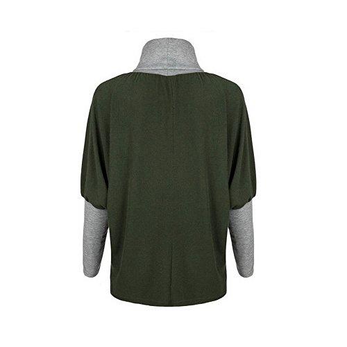 Vertvie Femme Sweat-Shirt Col Mantant Manches Chauve-Souris Top Blouse Pullover Croisé Casual Noir