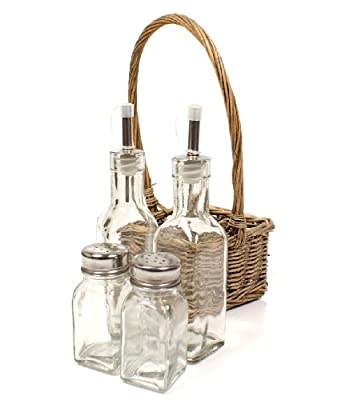 Shabby Chic/Rustic Wicker Condiment Holder Basket-salt-pepper-vinegar-oil bottle