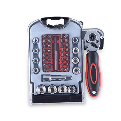 Universal Joint Pin (EDFDJED 48 stücke Steckschlüsselsatz Auto Reparatur Handwerkzeuge Drehmoment Ratschenschlüssel Mit einem Satz Bits Schlüssel Universal Joint Tools Kit)