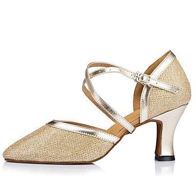 XIAMUO Anpassbare Damen Tanz Schuhe Satin Satin Modern Heels Stiletto Heel Indoor Schwarz/Elfenbein/Silber/Gold Schwarz