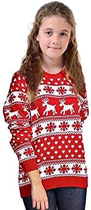 Loxdonz Jersey de Punto navideño con diseño de Reno y Copo de Nieve para niñas