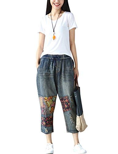 Youlee Donna Vita Elastica Patchwork Jeans Blu