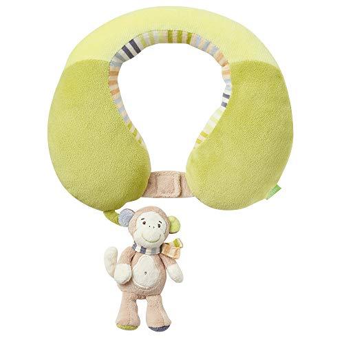 Fehn 081763 Nackenstütze Affe - Nackenkissen mit kleinem Rassel-Affen für Babys und Kleinkinder ab 6+ Monaten - Stützt und entlastet in Kinderwagen, Babyschale oder Auto