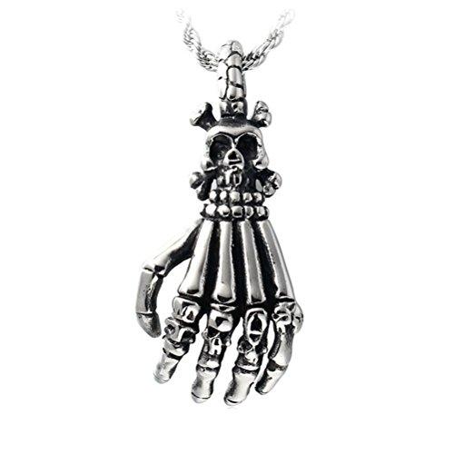 HIJONES Herren Edelstahl Tod Sensenmann Schädel Handknochen Anhänger Halskette Weinlese Gotische (Herr Tod Kostüm)