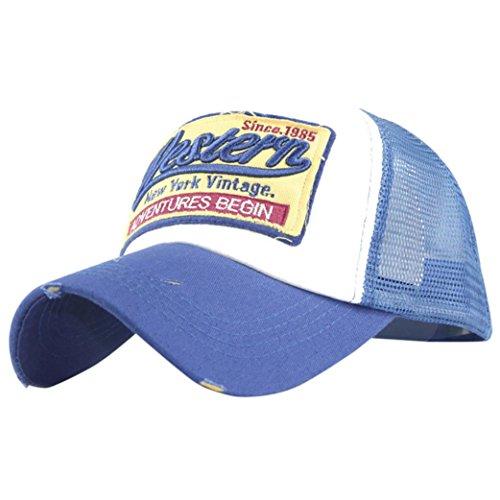 Hut-männer-baseball-cap (Unisex Baseball Cap FORH Mode Sommer Kappe Mesh Hüte Super Coole Hip Hop caps Chic Besticken Brief kappe Sommer Sport Mütze Schirmmütze (Blau))