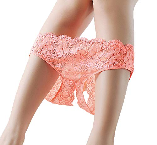 Dreamwear Pink Cotton lace Open Crotch Lingerie Thongs Transparent G-String Panty Erotic mesh Crotchless Underwear Briefs for Women