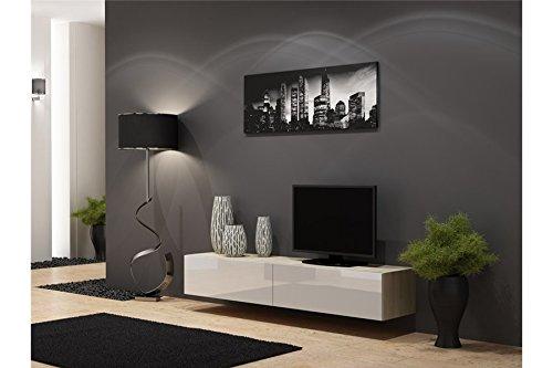 Meuble TV Design Suspendu Vito 180cm - Bois et Blanc