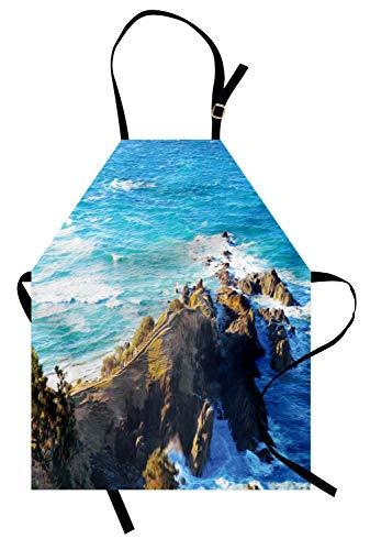 Abakuhaus Land Kochschürze, Vogelperspektive von australischen Klippen durch das Meer mit Wellen-hoher Zieleinheit der Natur, Farbfest Höhenverstellbar Waschbar Klarer Digitaldruck, ()