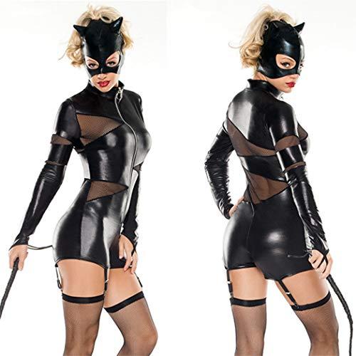 Kostüm Frauen Cat Black - CoolTing Schwarz Sexy Lackleder Katze DamenmodeHalloween Kostüme Erwachsene Frauen Leder Reiter Motorradjacke Cat Lady Catwoman Kostüm Catsuit Jumpsuit,Black,M