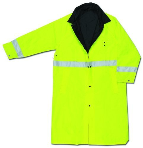 MCR Safety 7368CRL Luminator PVC/Nylon Reversible Coat with 2-Inch Silver Stripe, Lime/Black, Large by MCR Safety Nylon Reversible Coat