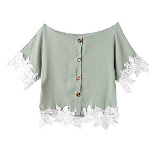 Kviklo Damen Westen Tank T-Shirt Sommer Gepunktet Druck Vintage Cap Kurzarm V-Ausschnitt Half-Button Top (Kiss Lotion Victoria Secret)