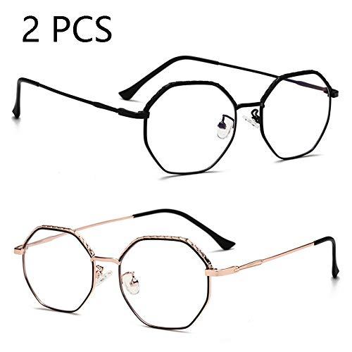FZXHJ Anti-Blu-Ray-Brille, Stilvolle Große Metall-Flachbrillen, Unisex-Brillengestell, Computerbrille (2 STÜCKE),c1+c18