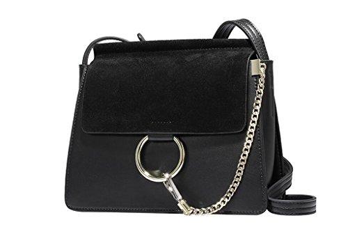borse di cuoio, anello sacchetto di cuoio, catena tracolla, sacchetto del messaggero smerigliato, pacchetto Ms. black