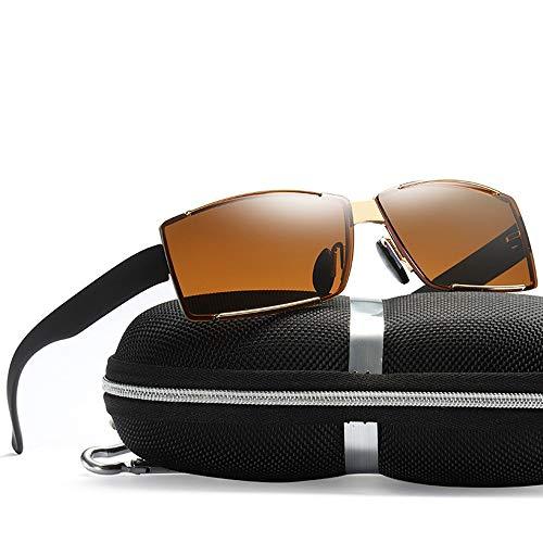 WULE-RYP Polarisierte Sonnenbrille mit UV-Schutz Polarisierte rahmenlose quadratische Sonnenbrillen für Männer, die Sonnenbrillen Fahren. Superleichtes Rahmen-Fischen, das Golf fährt (Farbe : Gold)