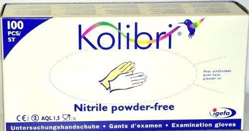 100 Stück Untersuchungshandschuhe, Kolibri Nitril puderfrei, Grösse M, Farbe blau, Handschuhe