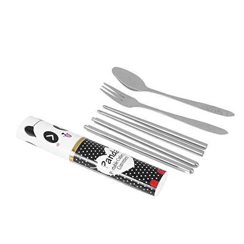 3pcs/set Stainless Steel Portable Chopsticks Spoon Fork Dinner Flatware Set Cutlery Tableware Case Bag Set Space-saving