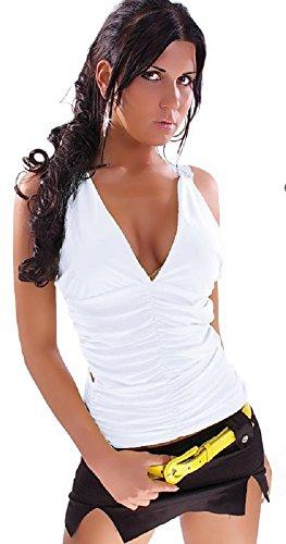 Saphira mode. Ruffle Top mit sexy Gehäuseboden für die Stickerei Weiß Blanc - White