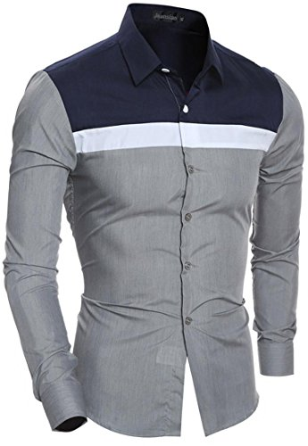 Jeansian Hommes Mode Chemises Casual Manches Longues Couleur de Collision Men's Leisure Collision Color Stitching Long Sleeves Slim Shirts Tops 84M5 gray