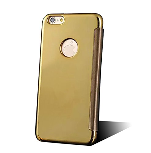 Apple Iphone 6 Plus/6S Plus Hülle,Nnopbeclik Hybrid TPU+PC Schutzhülle Cover Case Flip Bookstyle Muster Galvanik Electroplating Mirror Handytasche Etui mit Fensteransicht Stoßdämpfend Spiegel Glitzer  Golden