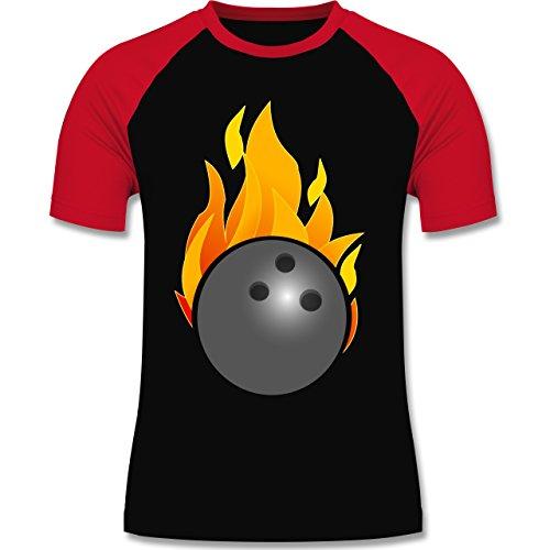 Bowling & Kegeln - Bowling Ball Flammen bunt - zweifarbiges Baseballshirt für Männer Schwarz/Rot