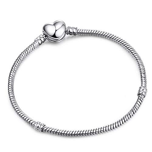 b590cefe91fd Pulsera Brazalete, Joyeria Regalo, Authentic Silver Color Snake Chain Fine  Bracelet Fit European Charm Bracelet For Women DIY Jewelry Making R09 21cm