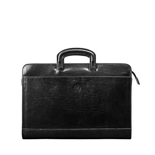 Maxwell Scott® Porte-Documents Mince Zippé - Cuir Italien Noir (Barolo)