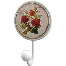 Perchero única puerta servilletas en pared o puerta trapos diseño de flores estilo rústico (hierro y porcelana blanco 6,5x 11x 17cm