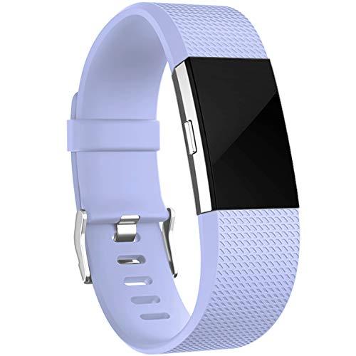 HUMENN Armband Kompatibel mit Fitbit Charge 2, Charge 2 Bänder Weich Sports Ersetzerband Fitness Verstellbares Uhrenarmband für Fitbit Charge2, Klein Flieder