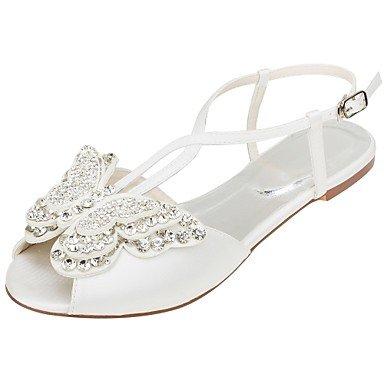 Wuyulunbi@ Scarpe donna raso elasticizzato Comfort estivo Wedding scarpe tacco piatto punta aperta Applique Sequin per Party & abito da sera Un
