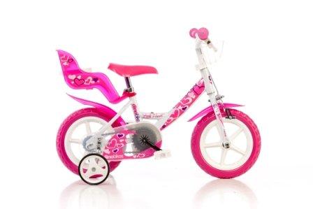 DINO CITY 124RLN 12 pouce KIDSBIKE fille- vélo, bicyclette, enfant-velo, bécane, vélocipède, rouler en vélo, faire du vélo..blanc-pink..pannier-avant..porte-poupee stabilisateurs..gardeboue.. 12pouce 2-5 ans 85-110cm