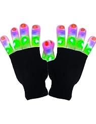 Gants LED Vsllcau Lumières des Doigts Clignotantes Colorés Avec 6 Modes Pour Concert Soireé Halloween Noël Fête Festivals