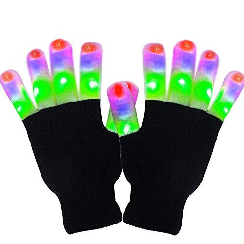 Vsllcau LED Handschuhe mit 3 Farben blinkenden Einstellungen 6 Modi Coole Spielzeuge Kostüm Geschenk für Party Halloween Weihnachten (Kostüme Für Halloween Bilder)