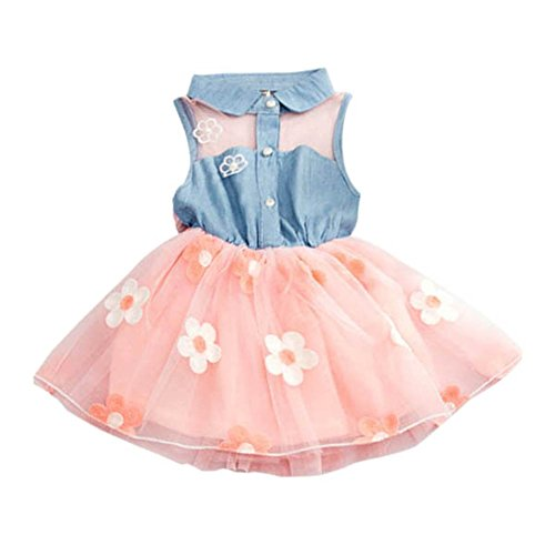 Mädchen Blume Kleider, Hankyky Streetwear Kind Tutu Ohne Arm SunKleider Kind Causual Pastoral Style Bow Tulle Kleidung Baumwolle Vest Short Chiffon Tiered Lace Skirt, Alter 6 months -4 years (Double-layer-regenbogen)